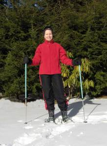 Nancy snowshoeing