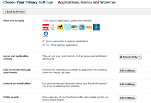 new facebook application privacy settings