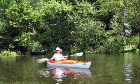 nancy loderick kayaking on river
