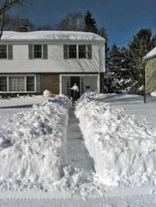 nancy loderick shoveling snow