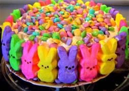 easter peeps with m+m candies