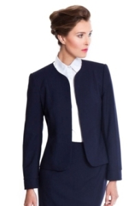 woman in navy suit