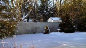 snow and bird bath in back yard